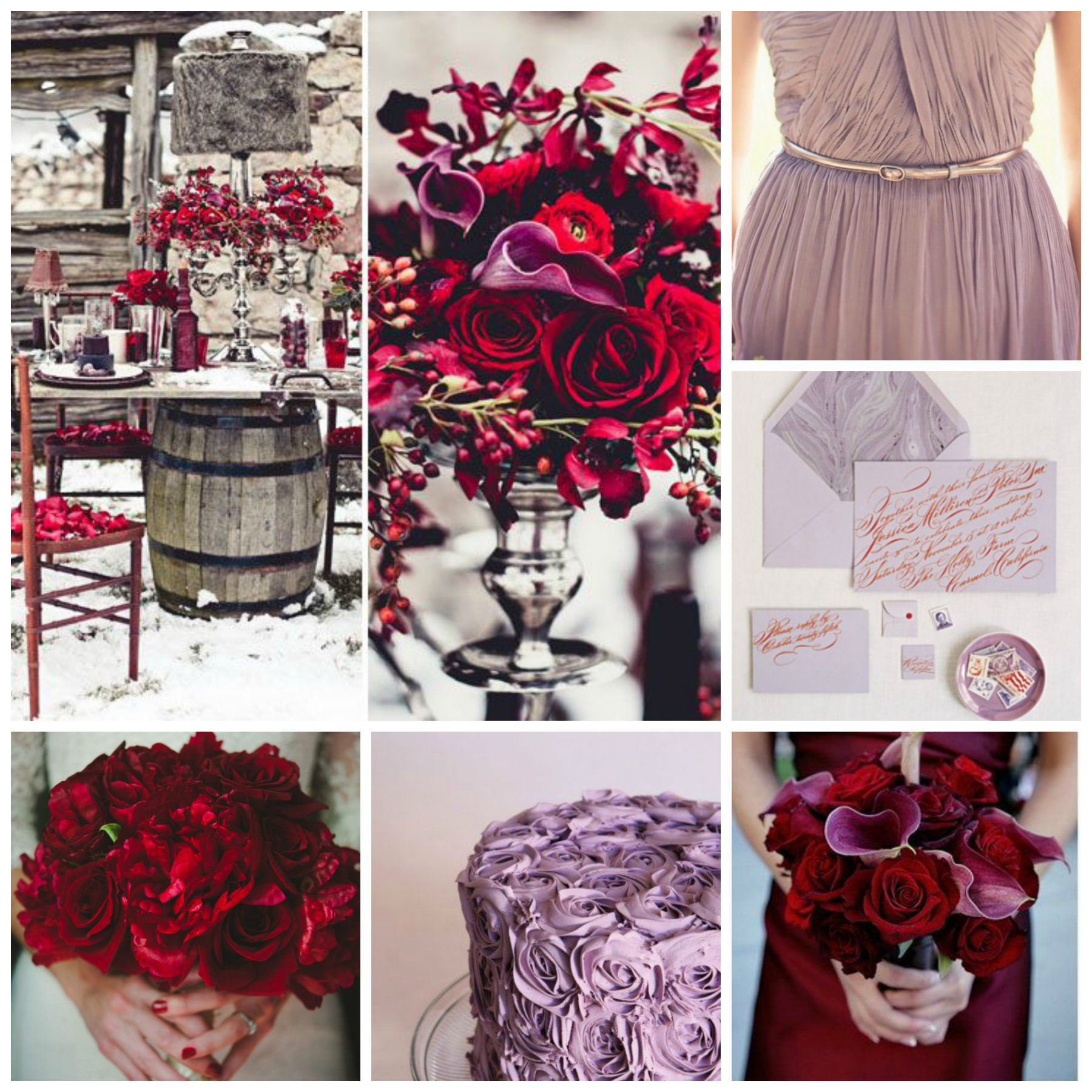 Cranberry Red and Dusty Lavender Wedding