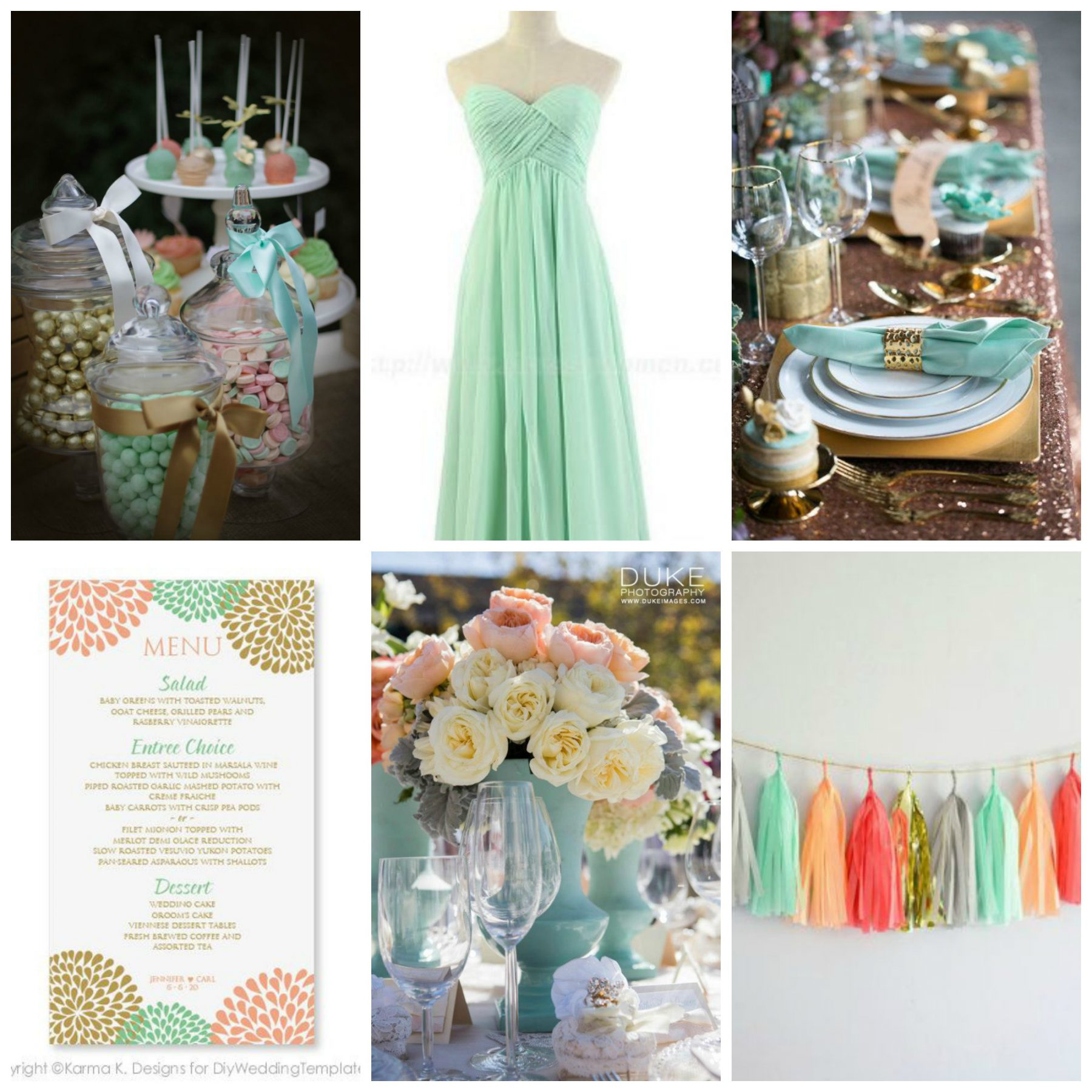 5 Green Wedding Decorations That Will Leave You Speechless: Color Palette Idea: Mint, Peach, & Metallic Gold