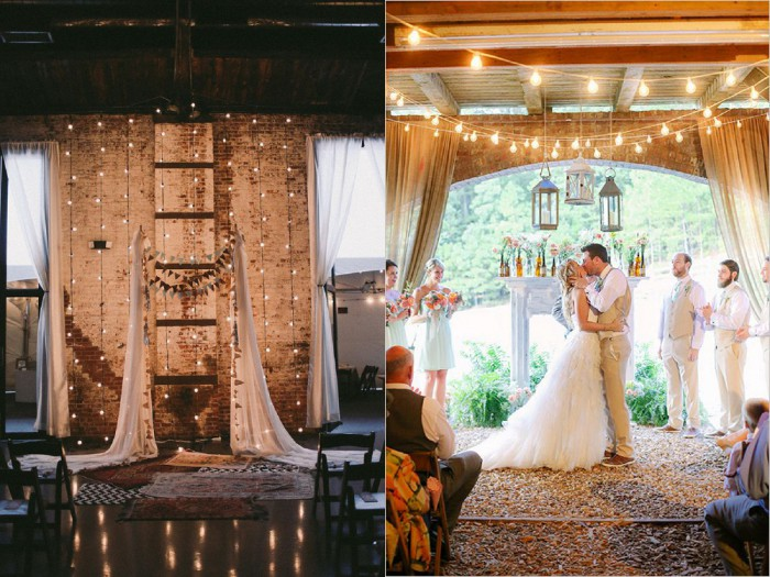 Left: Feather & Twine Photography via Style Me Pretty; Right: Cristina Elena Photography via Wedding Chicks