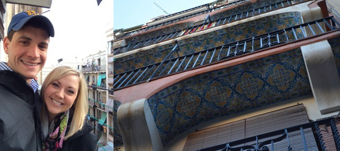 On the balcony of our Barcelona flat, and the pretty tile work over the front door