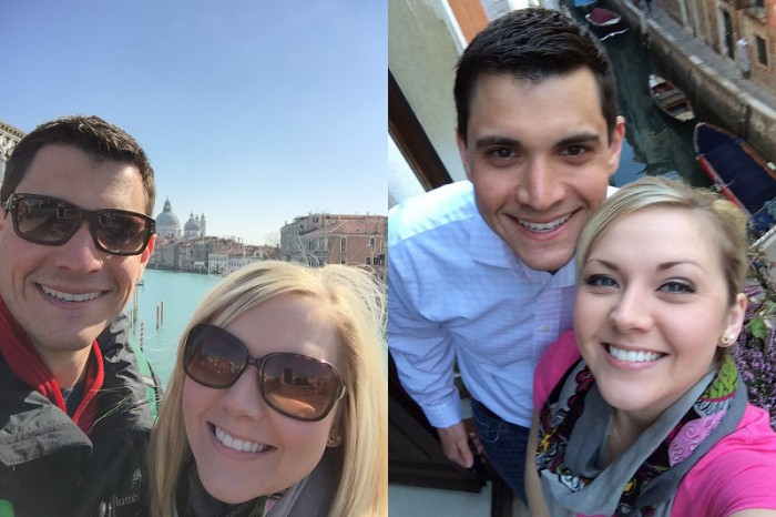 Selfies in Venice. If you look closely, you'll see I'm wearing the same outfit. Was it the same day? You'll never know.