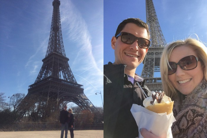 Treating ourselves to crepes at the Eiffel Tower after walking like a million miles to get there
