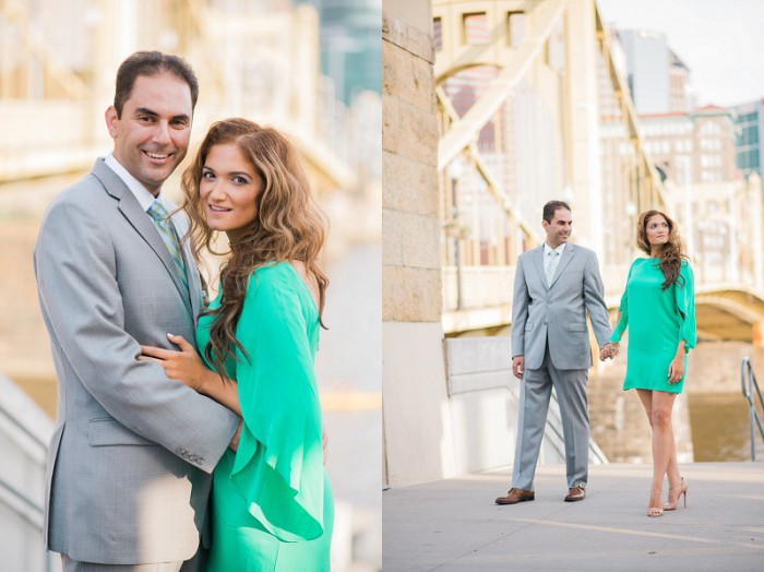Sunny Pittsburgh Skyline Engagement Session by Caitlin's Living Photography Featured on Burgh Brides
