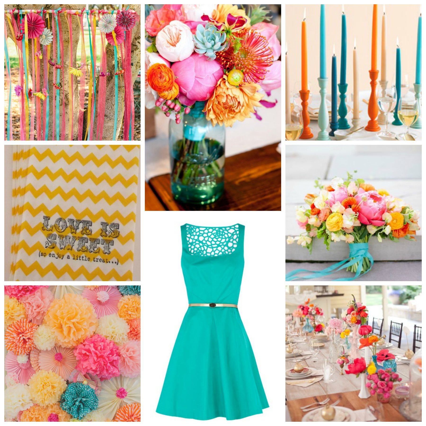 Color Palette Idea Fuchsia Turquoise Orange & Yellow Burgh Brides