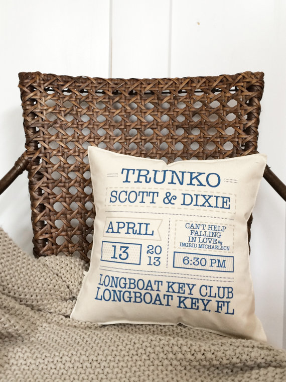 Wedding Keepsake Pillow from LovingLeighYours - Second Anniversary Gift Ideas from Burgh Brides