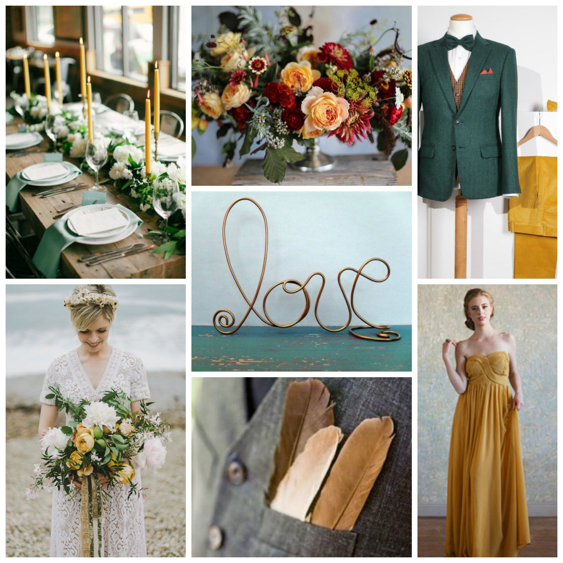 5 Green Wedding Decorations That Will Leave You Speechless: Mustard, Hunter, & Copper Wedding Inspiration
