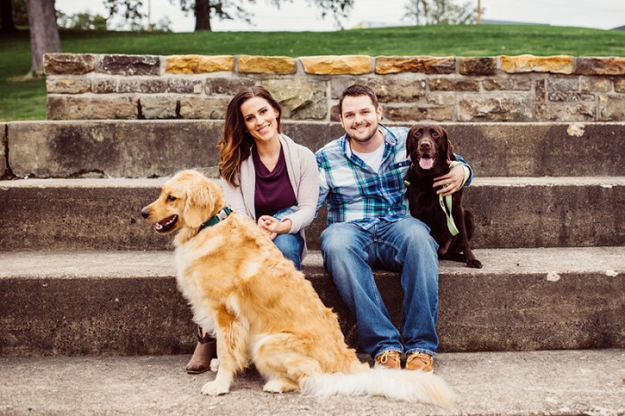 A Mt. Washington Engagement Session with Furry Friends from Steven Dray Images Featured on Burgh Brides