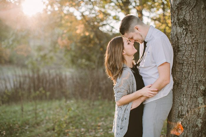 Glowing Fall Sunset Engagement Session from Rachel Rowland Photography featured on Burgh Brides