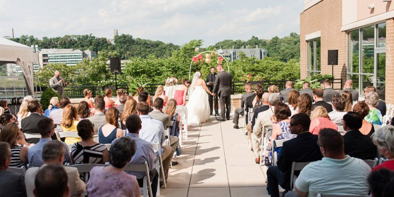 Coral & Gold Terrace Wedding at the Hyatt House: Jo & Mike