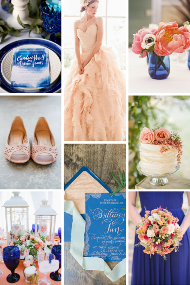 Cobalt, Peach, & White Wedding Inspiration from Burgh Brides