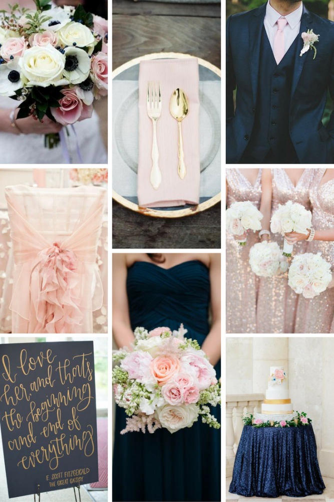 Navy, Blush, & Gold Wedding Inspiration from Burgh Brides