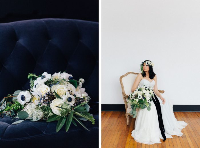 Dramatic Blue & Gray Winter Wedding Inspired Styled Shoot from Garnish Event Design & Rachel Rowland Photography featured on Burgh Brides