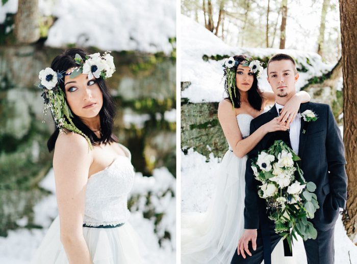 Dramatic Blue & Gray Winter Styled Shoot from Garnish Event Design & Rachel Rowland Photography featured on Burgh Brides