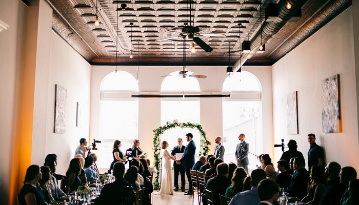 Intimate Blue & Gold Wedding at Bar Marco: Laura & Brandon
