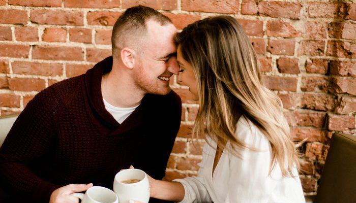 Cozy Fall Coffee Shop Engagement Session: Jillian & Kieran