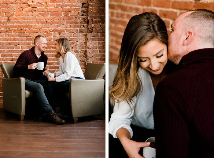 Cozy Fall Coffee Shop Engagement Session from Sweet Juniper Photography featured on Burgh Brides