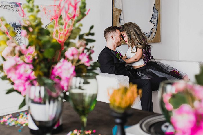 Out of the Box Wedding Inspiration with a 1980s Twist from Sandrachile and Devoted to You Events featured on Burgh Brides