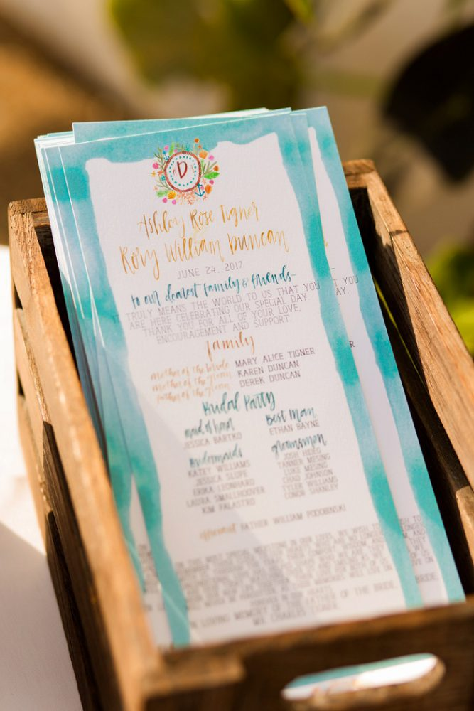 Watercolor Ceremony Programs: Blue Beach Inspired Wedding from Leeann Marie, Wedding Photographers featured on Burgh Brides