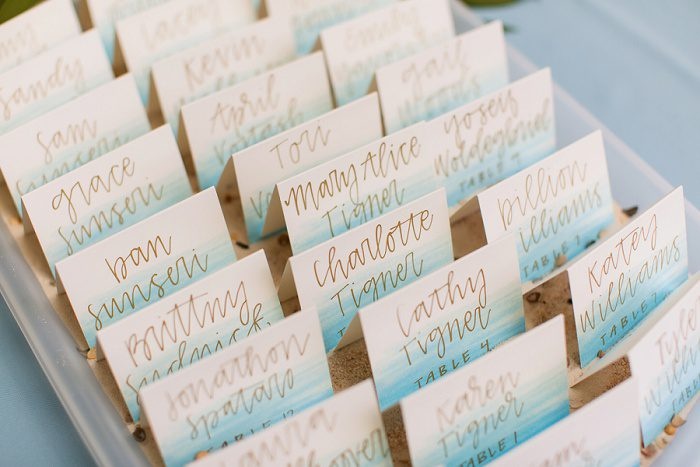 Wedding Escort Cards: Blue Beach Inspired Wedding from Leeann Marie, Wedding Photographers featured on Burgh Brides