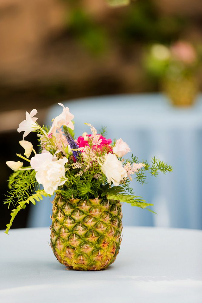 Pineapple Centerpiece: Blue Beach Inspired Wedding from Leeann Marie, Wedding Photographers featured on Burgh Brides