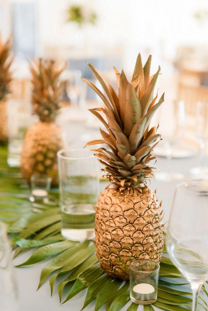 Golden Pineapple Wedding Centerpiece: Blue Beach Inspired Wedding from Leeann Marie, Wedding Photographers featured on Burgh Brides