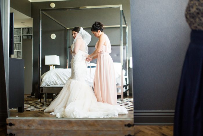 Bride Getting Ready: Blush Pink Outdoor Wedding at the Allegheny County Courthouse from Jenna Hidinger Photography featured on Burgh Brides