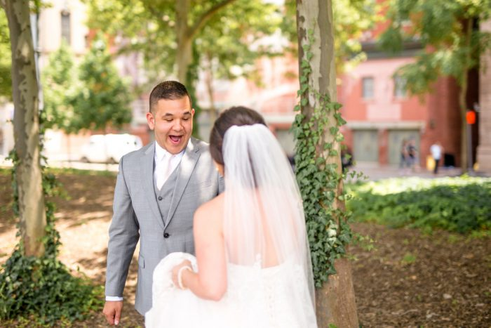 First Look Session: Blush Pink Outdoor Wedding at the Allegheny County Courthouse from Jenna Hidinger Photography featured on Burgh Brides