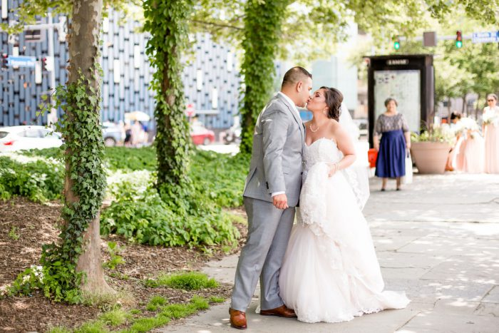 Bride and Groom: Blush Pink Outdoor Wedding at the Allegheny County Courthouse from Jenna Hidinger Photography featured on Burgh Brides