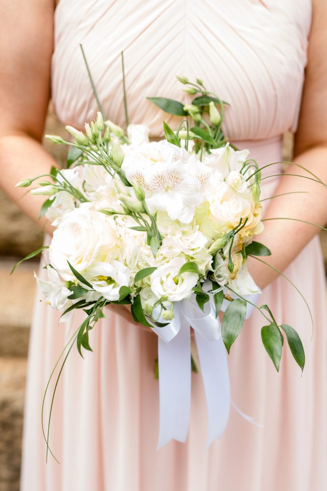 White Bridesmaids Bouquet: Blush Pink Outdoor Wedding at the Allegheny County Courthouse from Jenna Hidinger Photography featured on Burgh Brides