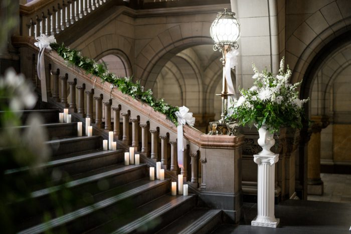 Romantic Wedding Ceremony Set Up: Blush Pink Outdoor Wedding at the Allegheny County Courthouse from Jenna Hidinger Photography featured on Burgh Brides