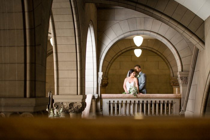 Romantic Bride and Groom Portraits: Blush Pink Outdoor Wedding at the Allegheny County Courthouse from Jenna Hidinger Photography featured on Burgh Brides