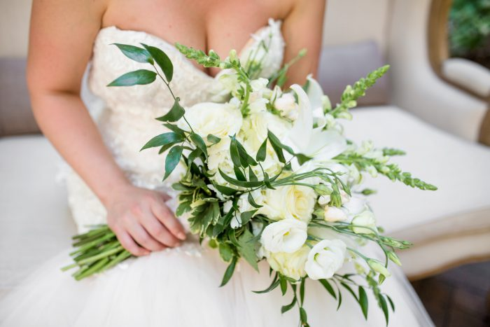 White Bridal Bouquet: Blush Pink Outdoor Wedding at the Allegheny County Courthouse from Jenna Hidinger Photography featured on Burgh Brides