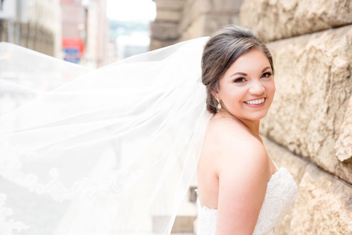 Tulle Bridal Veil: Blush Pink Outdoor Wedding at the Allegheny County Courthouse from Jenna Hidinger Photography featured on Burgh Brides