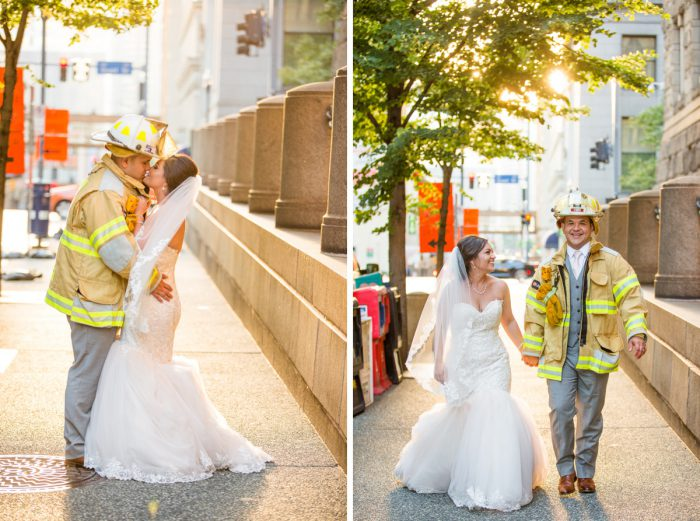 Fireman Wedding Photos: Blush Pink Outdoor Wedding at the Allegheny County Courthouse from Jenna Hidinger Photography featured on Burgh Brides
