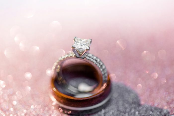 Square Shaped Diamond Engagement Ring: Blush Pink Outdoor Wedding at the Allegheny County Courthouse from Jenna Hidinger Photography featured on Burgh Brides