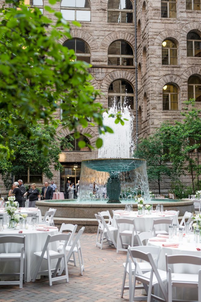 Outdoor Wedding Set Up: Blush Pink Outdoor Wedding at the Allegheny County Courthouse from Jenna Hidinger Photography featured on Burgh Brides