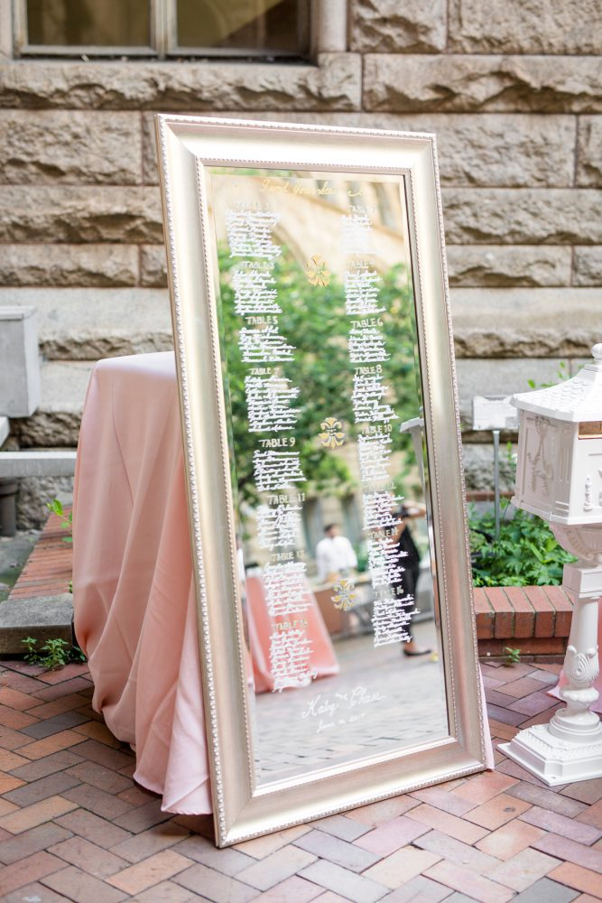 Mirror Wedding Seating Chart: Blush Pink Outdoor Wedding at the Allegheny County Courthouse from Jenna Hidinger Photography featured on Burgh Brides