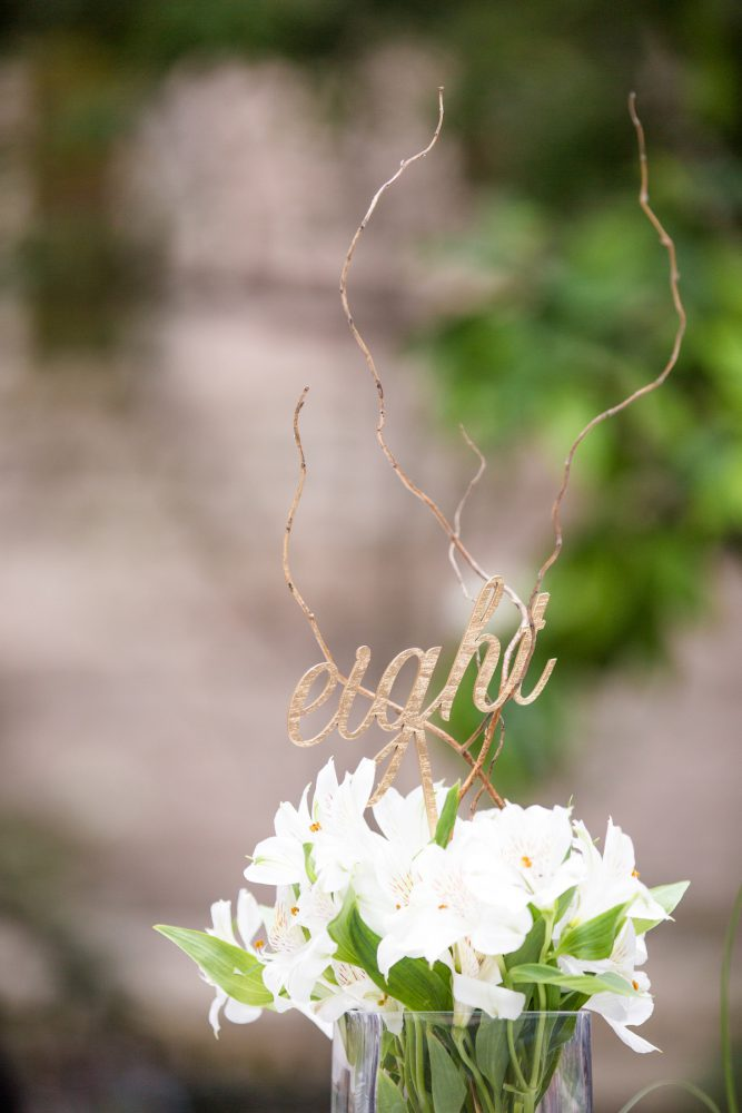 Laset Cut Wooden Table Numbers: Blush Pink Outdoor Wedding at the Allegheny County Courthouse from Jenna Hidinger Photography featured on Burgh Brides