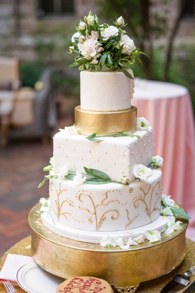 White and Gold Wedding Cake: Blush Pink Outdoor Wedding at the Allegheny County Courthouse from Jenna Hidinger Photography featured on Burgh Brides