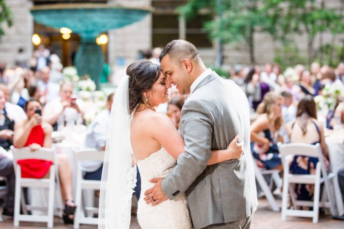 Bride and Groom First Dance: Blush Pink Outdoor Wedding at the Allegheny County Courthouse from Jenna Hidinger Photography featured on Burgh Brides