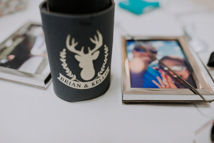 Koozie Wedding Favor: Charming Rustic Wedding at Oak Lodge from All Heart Photo & Video featured on Burgh Brides