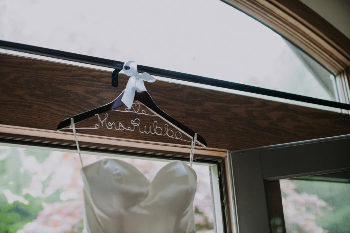 Custom Bridal Hanger: Charming Rustic Wedding at Oak Lodge from All Heart Photo & Video featured on Burgh Brides