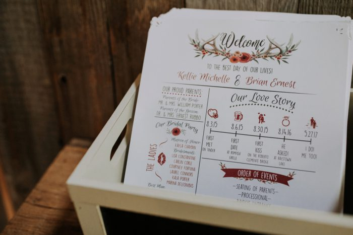 Illustrated Wedding Ceremony Program: Charming Rustic Wedding at Oak Lodge from All Heart Photo & Video featured on Burgh Brides