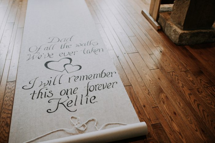 Custom Wedding Ceremony Aisle Runner: Charming Rustic Wedding at Oak Lodge from All Heart Photo & Video featured on Burgh Brides
