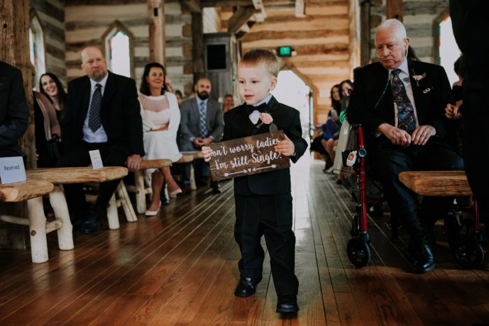 Cute Ring Bearer Signs: Charming Rustic Wedding at Oak Lodge from All Heart Photo & Video featured on Burgh Brides