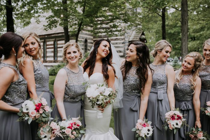 Gray Bridesmaids Dresses: Charming Rustic Wedding at Oak Lodge from All Heart Photo & Video featured on Burgh Brides