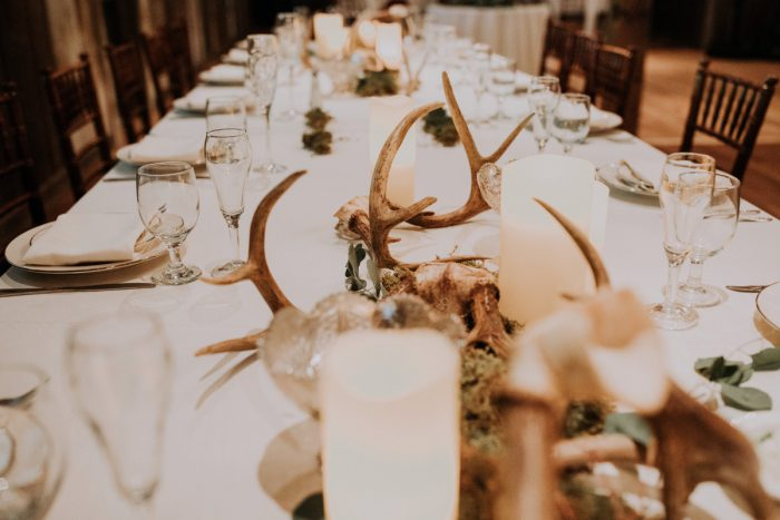 Antler Wedding Centerpiece Ideas: Charming Rustic Wedding at Oak Lodge from All Heart Photo & Video featured on Burgh Brides