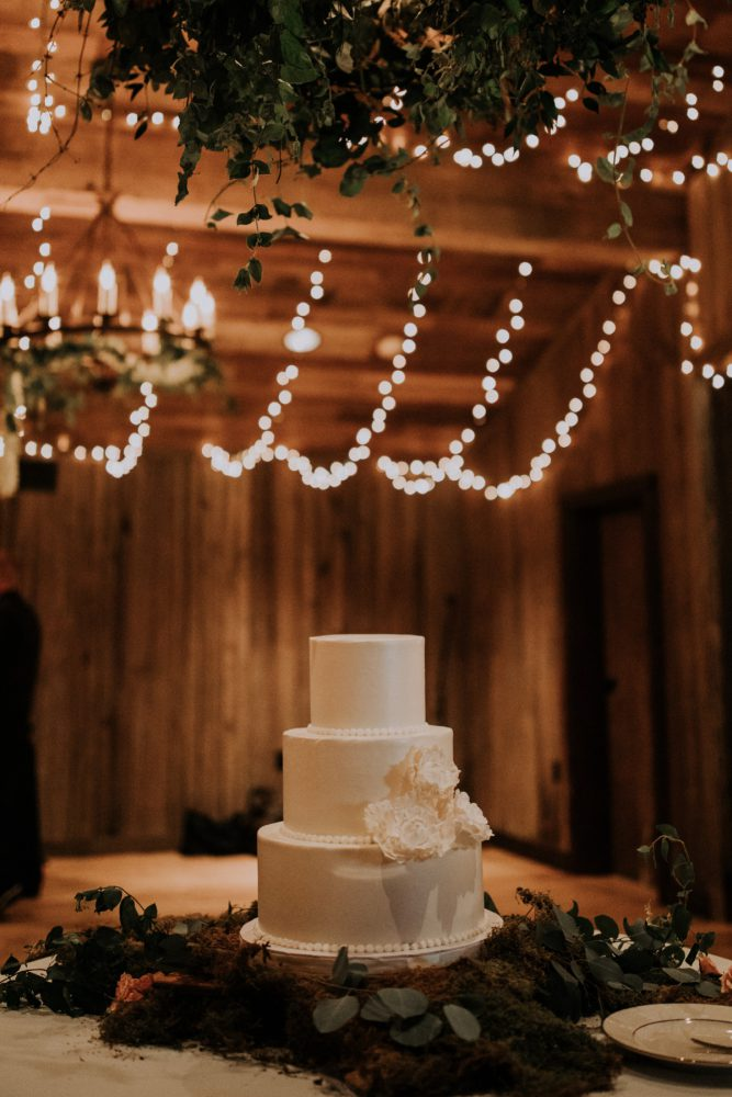 White Wedding Cake: Charming Rustic Wedding at Oak Lodge from All Heart Photo & Video featured on Burgh Brides