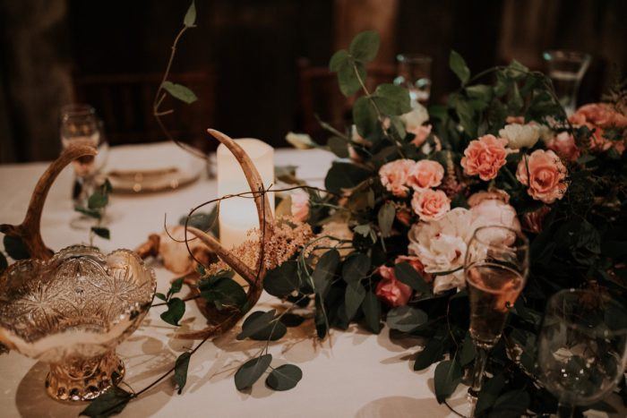 Antler Wedding Centerpieces: Charming Rustic Wedding at Oak Lodge from All Heart Photo & Video featured on Burgh Brides