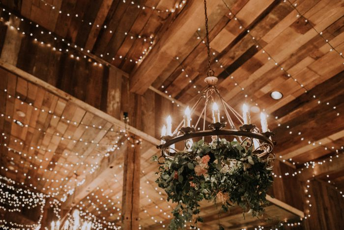 Hanging Floral Chandeliers: Charming Rustic Wedding at Oak Lodge from All Heart Photo & Video featured on Burgh Brides
